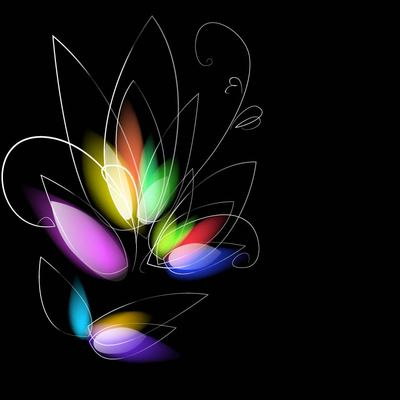 Colorful Dark Background with Blurry Flower, Vector Files.