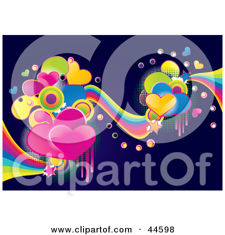 Clipart Illustration of a Vibrant Colorful Heart And Wave.