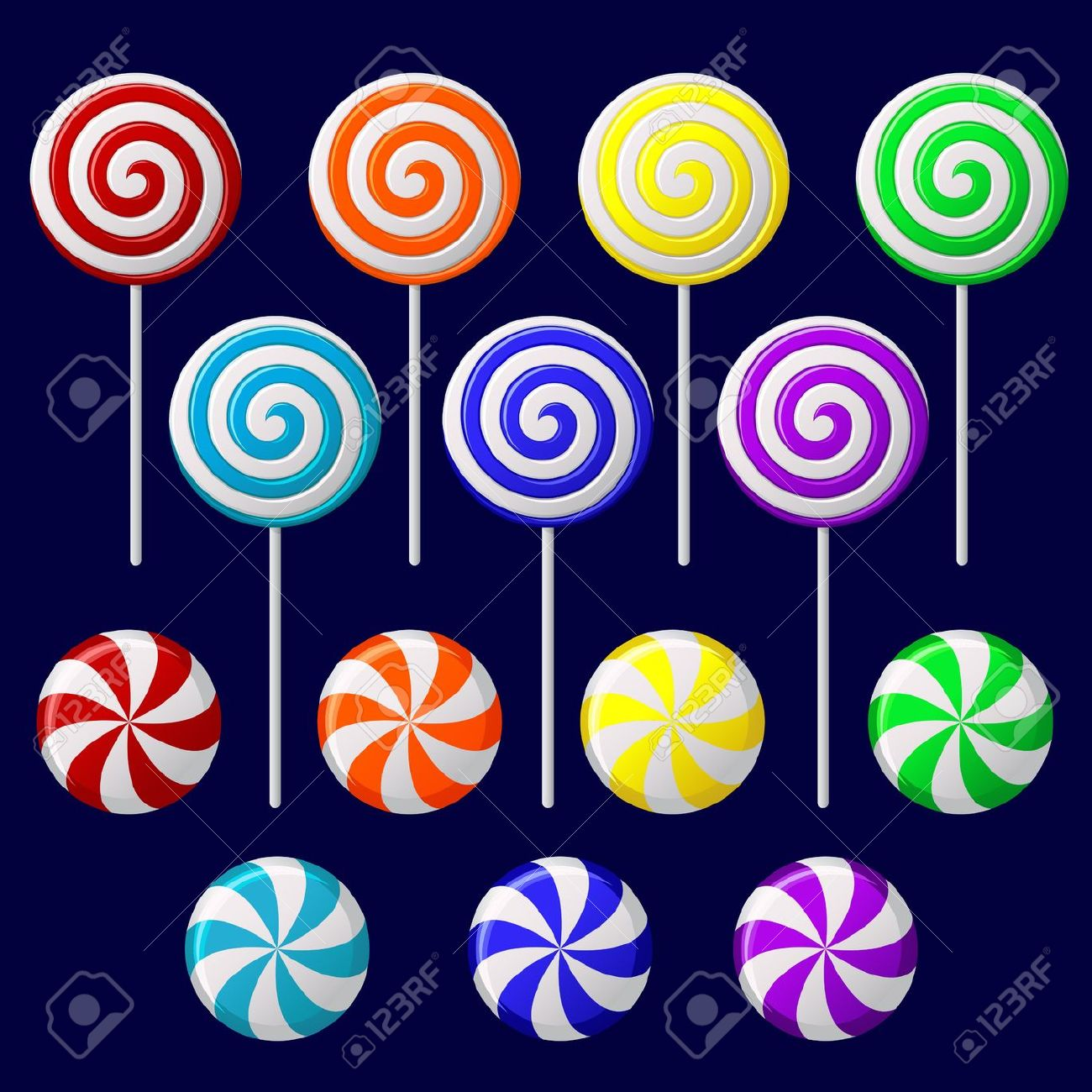 Vector Set With Colorful Candies On Dark Background Royalty Free.