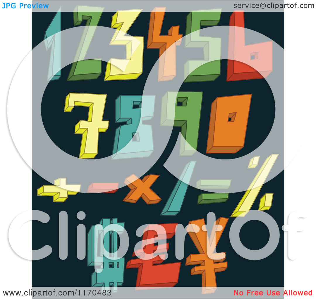 Cartoon of Colorful 3d Numbers and Symbols on a Dark Background.