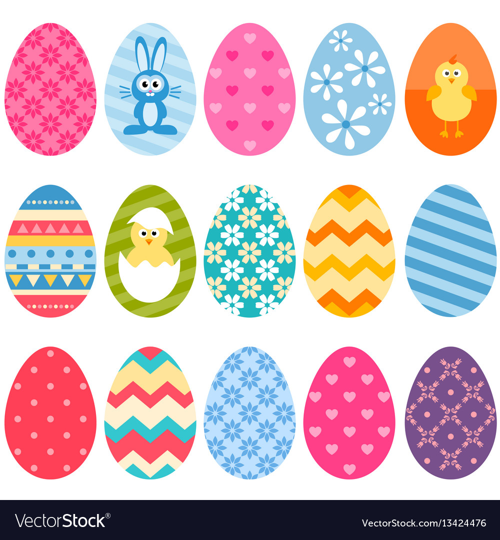 Set of fifteen colorful easter eggs icons.