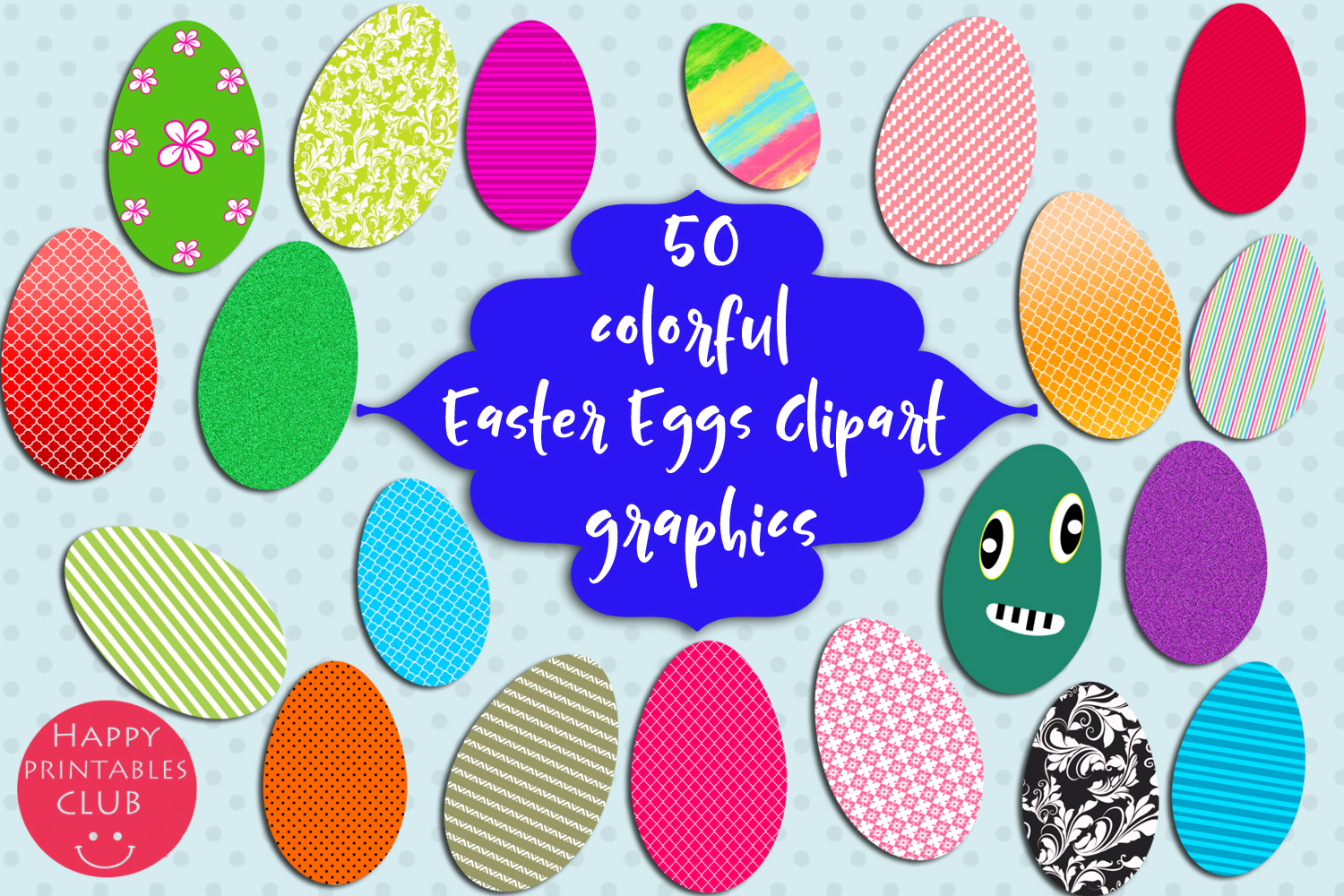 50 Colorful Easter Eggs Clipart.