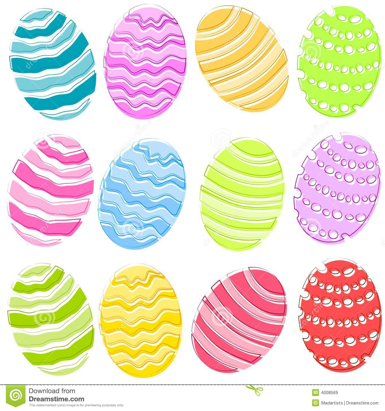 Colored Easter Eggs Clip Art.