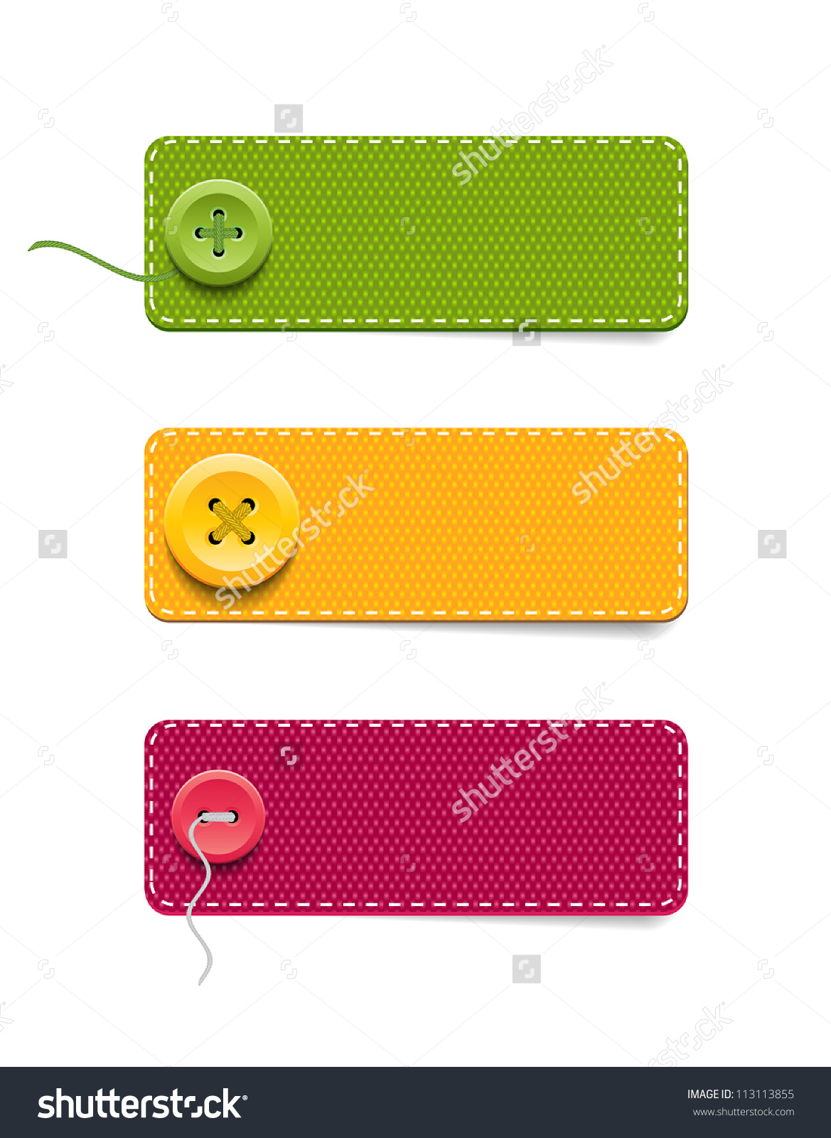 Vector Denim Fabric Rectangular Colorful Badges Set With Buttons.