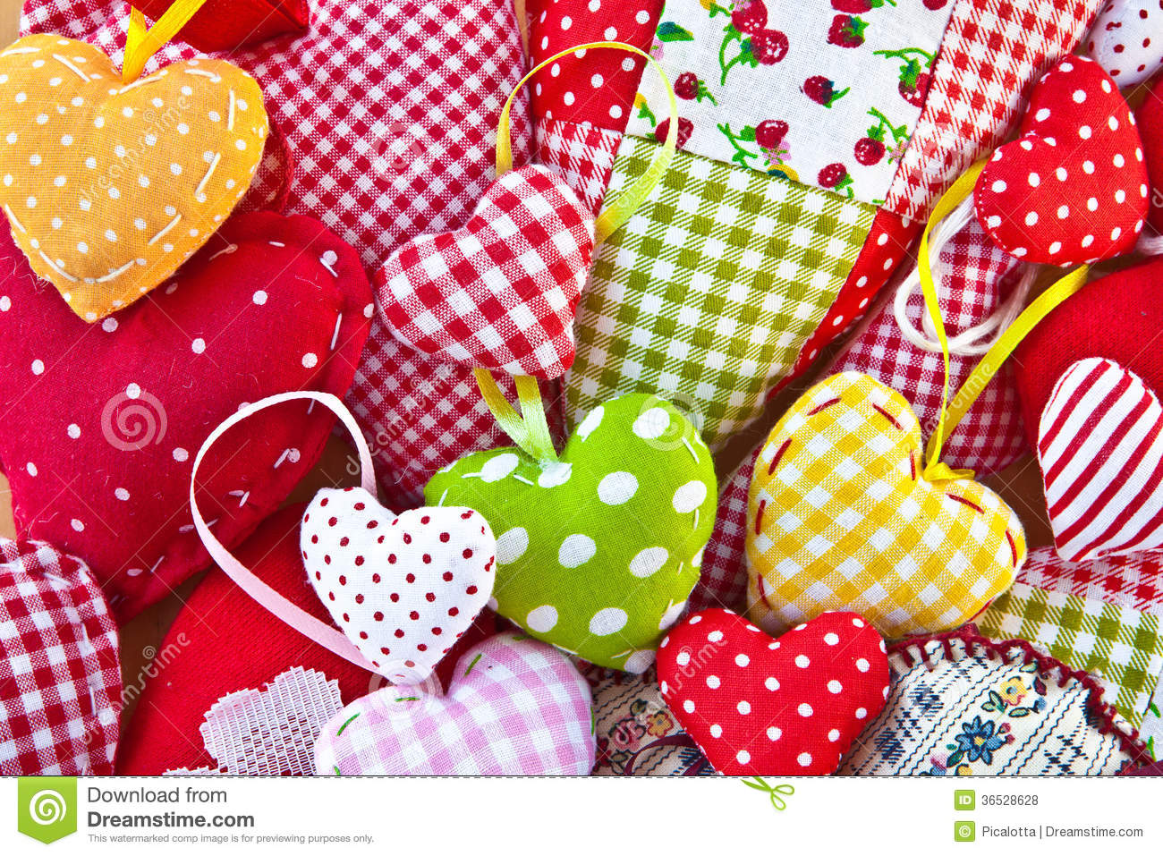 Colorful Hearts Made From Different Patterns Royalty Free Stock.