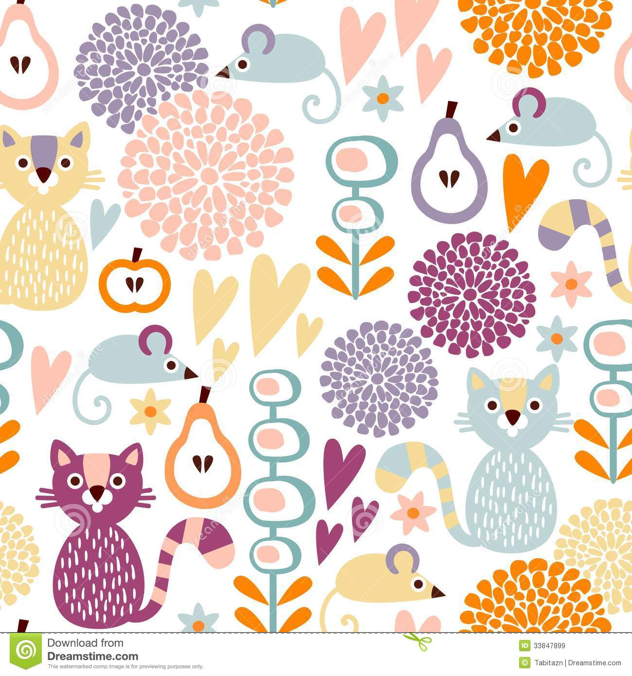 Cute Colorful Cartoon Seamless Floral Pattern Wit Royalty Free.