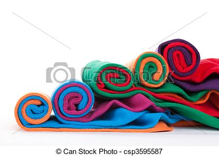 Picture of Colorful fabric rolls.