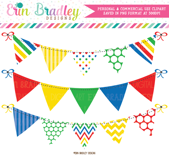 Primary Colors Banner Flag Clipart.