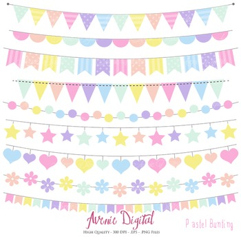 Pastel Rainbow Bunting Banner Clipart Scrapbook Vector Colorful Party Clip  art.