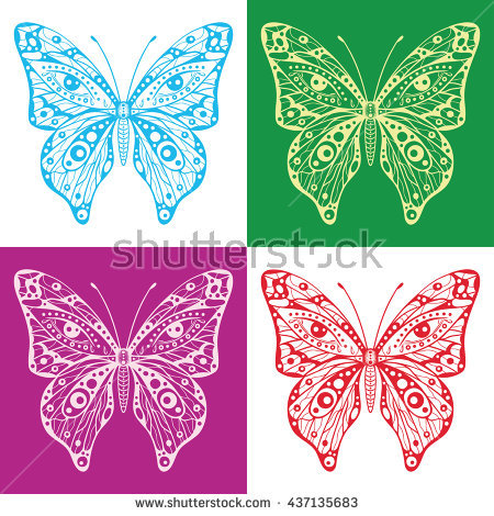 Butterflies Colorful Four Stock fotos, billeder til fri.