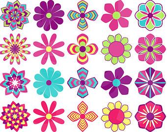 Colorful Flower Clip Art.