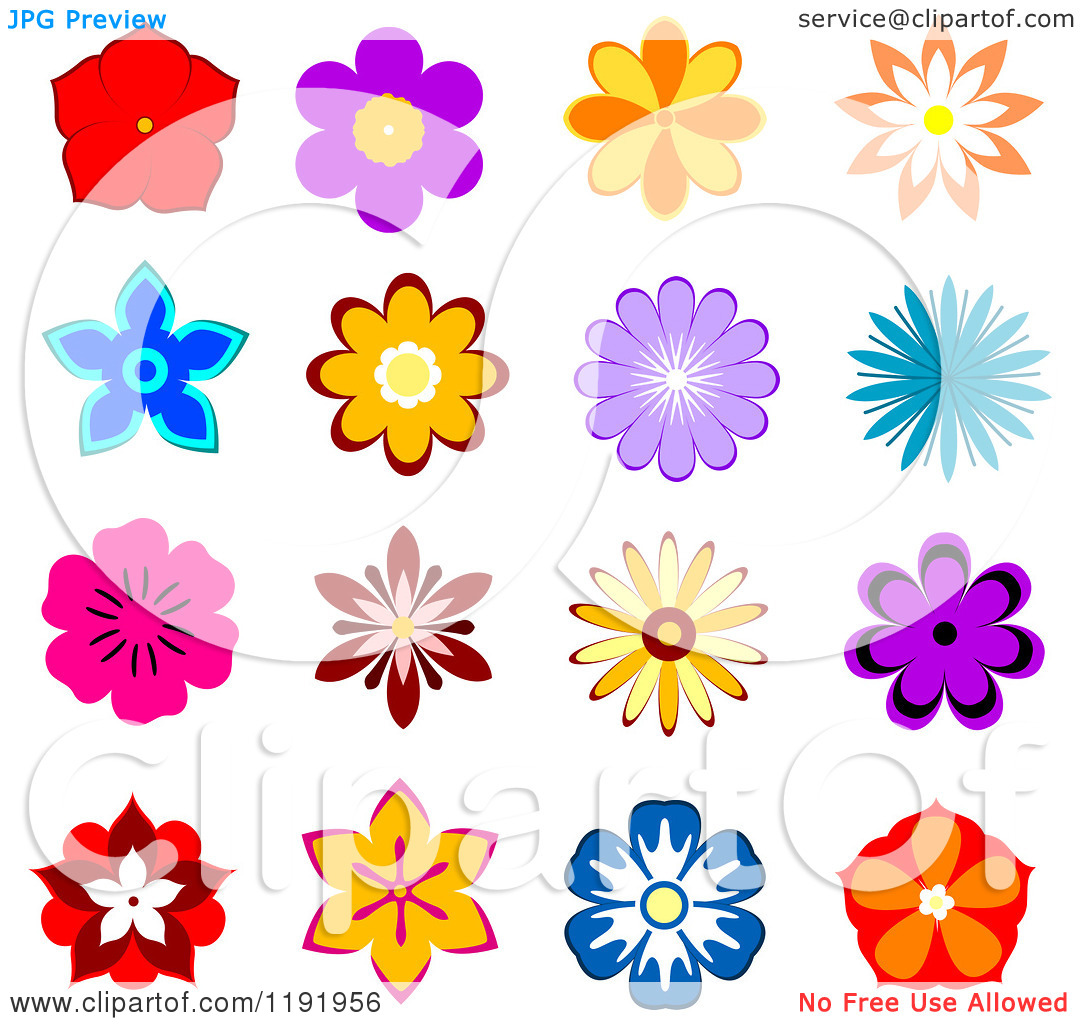 Clipart of Colorful Flowers.