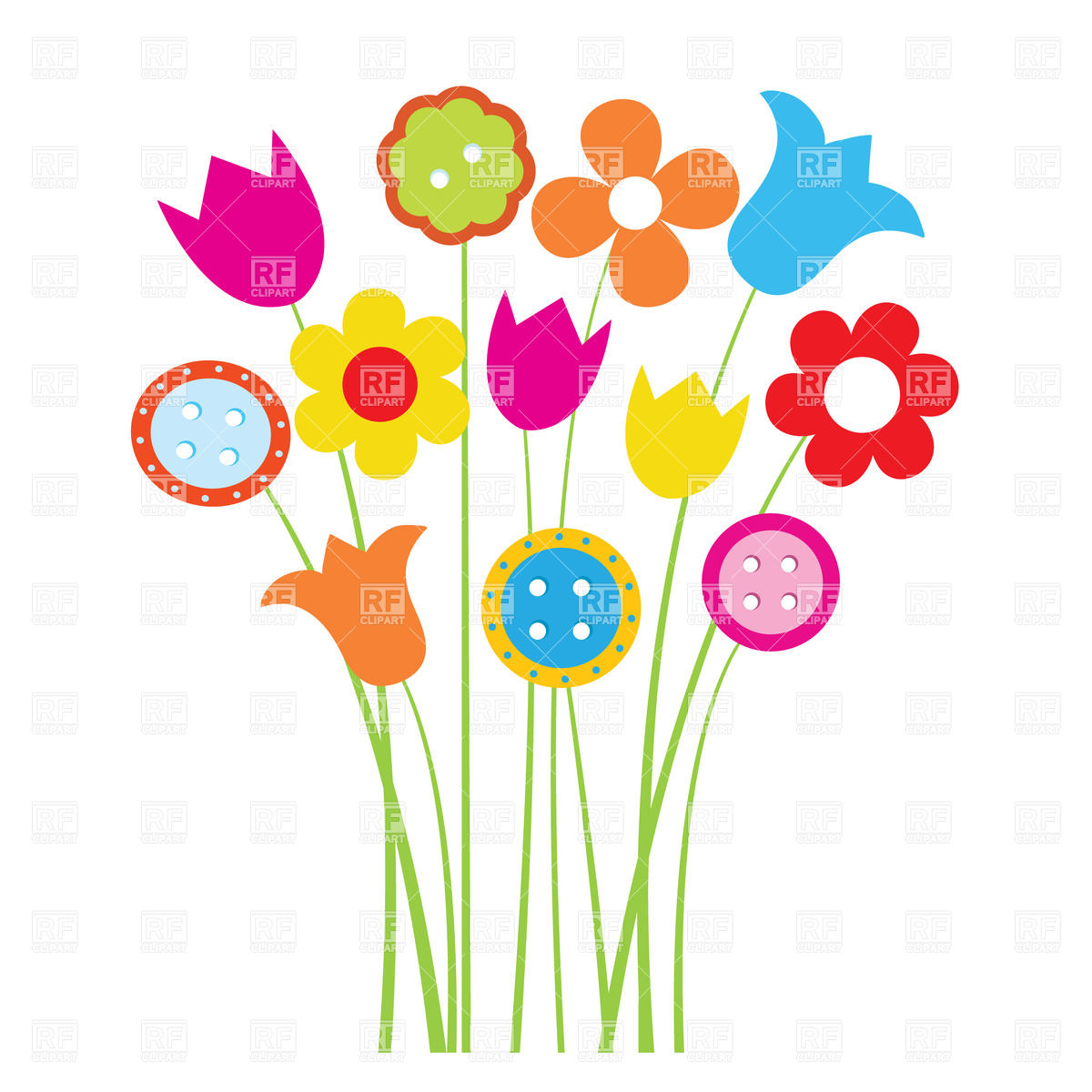 Colorful Flowers Borders Clipart.