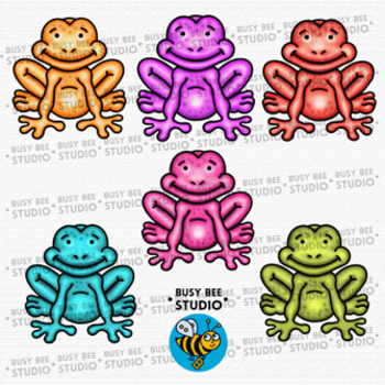 Colorful Frogs Clip Art.
