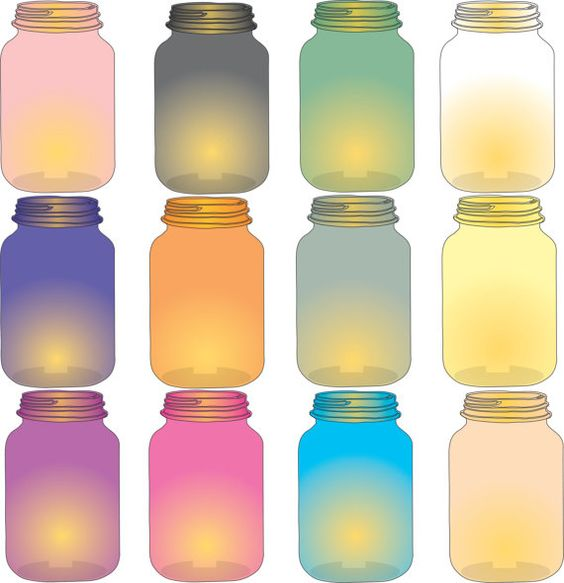 Lamp clipart mason jar clipart colored glass looks like real.