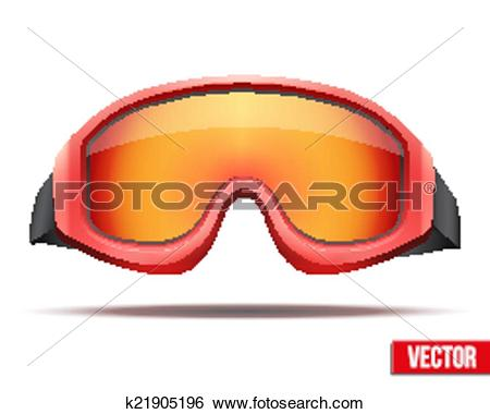 Clip Art of Classic red snowboard ski goggles with colorful glass.