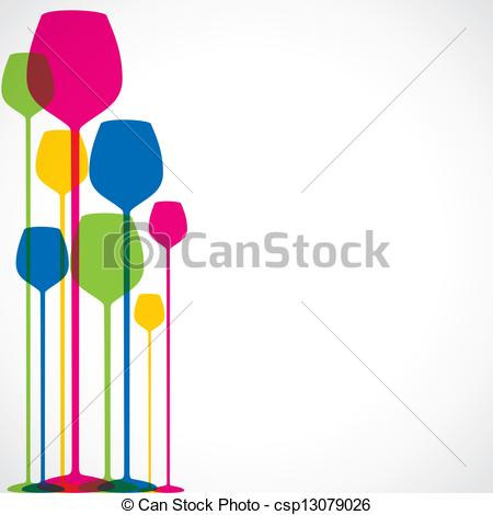 Vector Illustration of colorful wine glass background.
