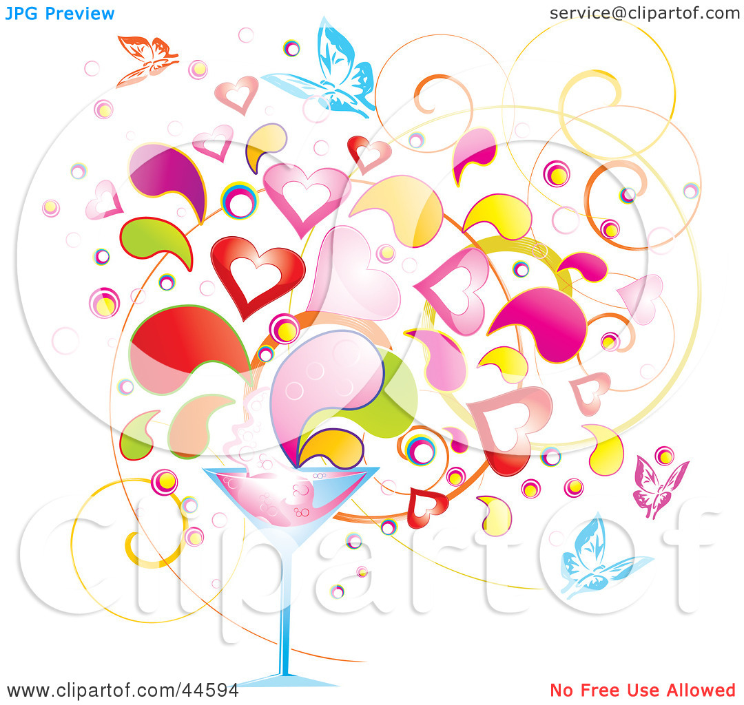 Clipart Illustration of a Background Of Colorful Splashes, Hearts.