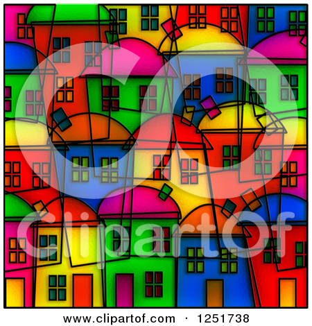 Clipart of a Background of Colorful Stained Glass Diamonds.
