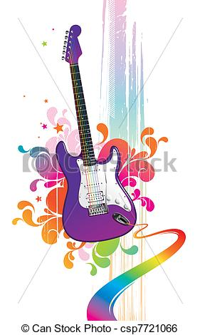 Clip Art Vector Of Colorful Illustration With Funny Guitar