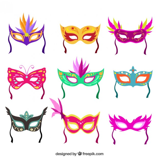 Colorful carnival masks collection Vector.