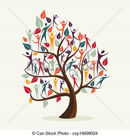 Vector Illustration of Diversity human leaves tree set.