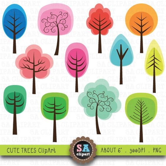 "Cute Tree Clipart ""TREE CLIP ART"" pack,cute, sweet, leaves, green."