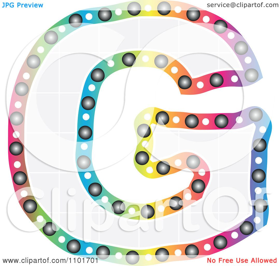 Clipart Colorful Capital Letter G With A Grid Pattern.