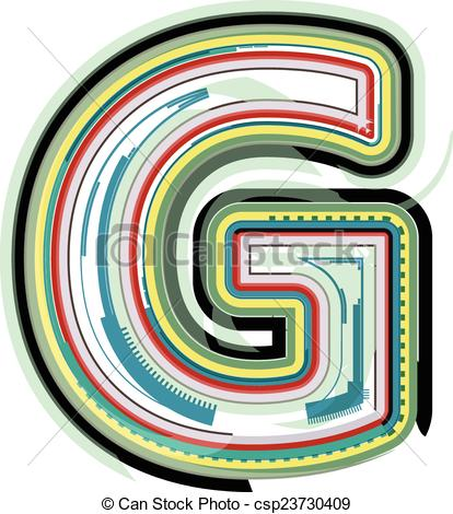 Vector Clipart of Abstract colorful Letter G csp23730409.