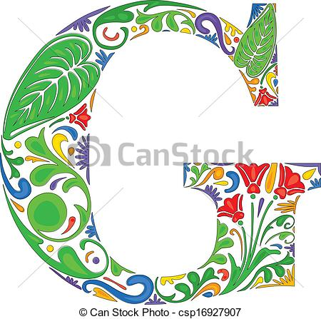 Vector Clipart of Floral G.