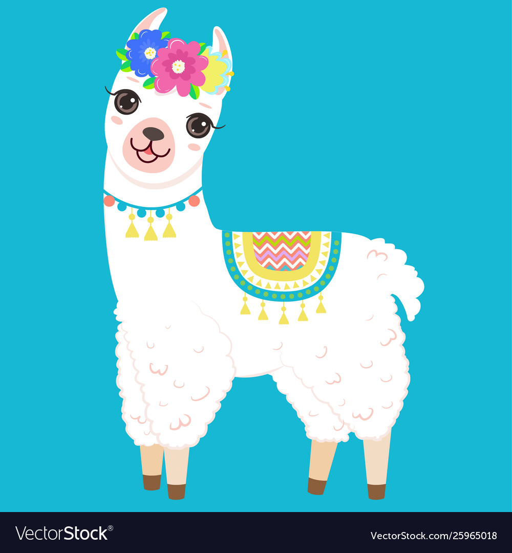 Cute white llama with colorful flowers on head.