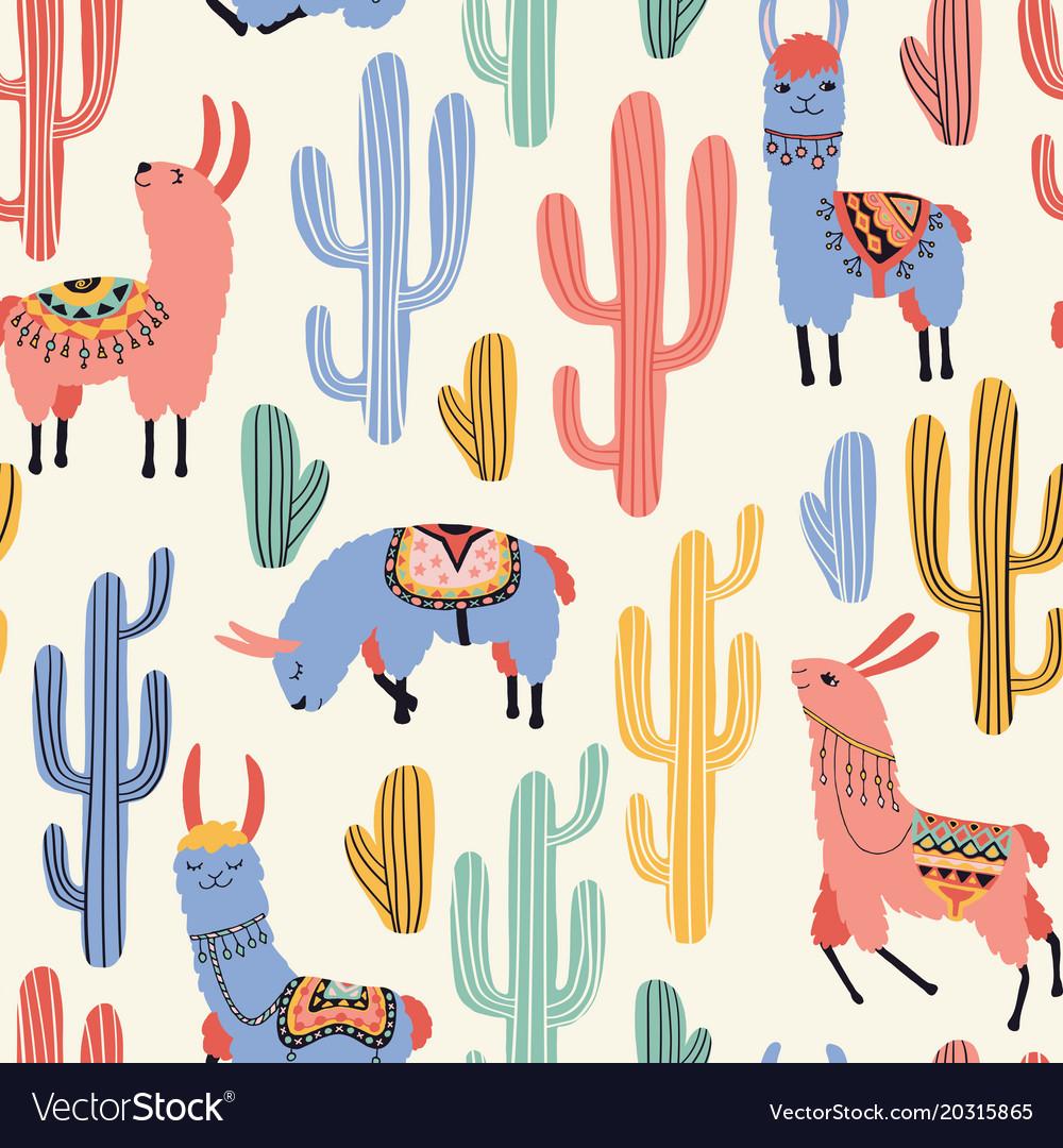 Colorful llamas and cacti.