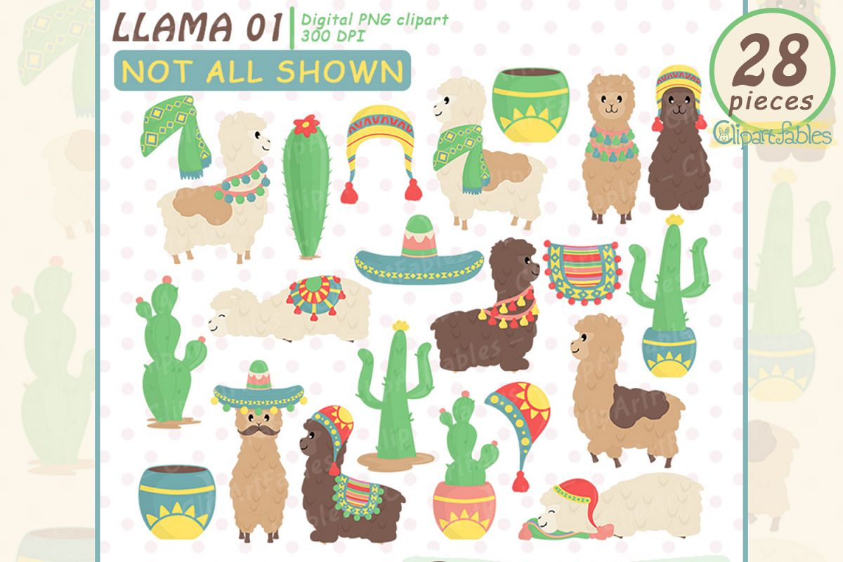 Cute llama clipart, Colorful alpaca clip art set.