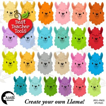 Llama Heads in 24 colors Clip Art, Animal Faces and Props, DIY Llama,  AMB.