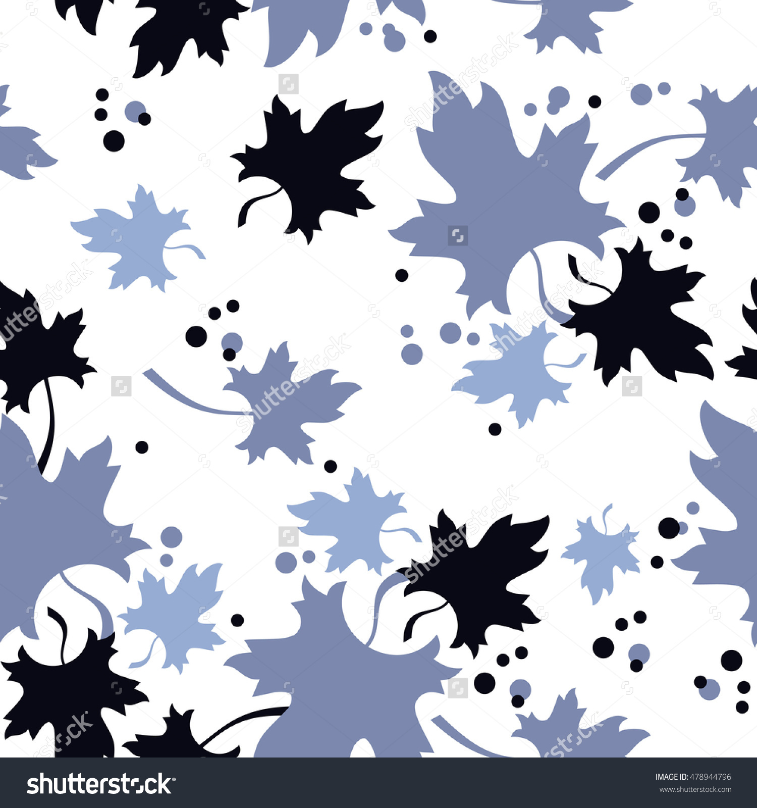 Autumn Seamless Pattern With Colorful Maple Leaves. Vector Clip.