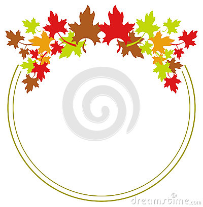 Autumn Round Frame With Colorful Maple Leaves. Stock Illustration.