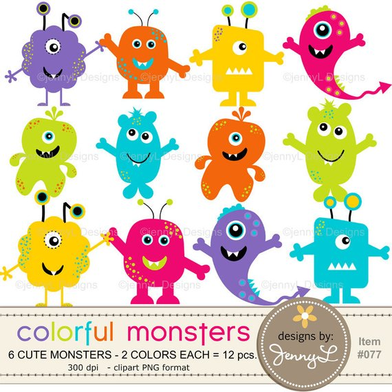 Monsters Cliparts, Colorful Cute Funny Silly Monsters for.