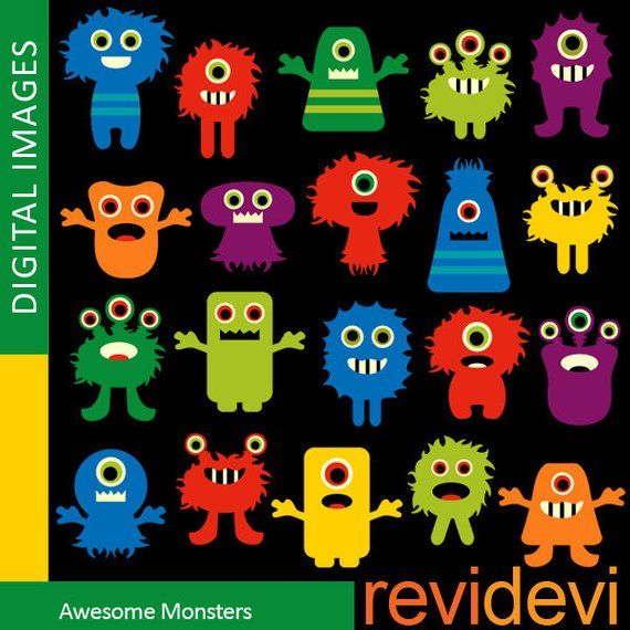 Monsters clipart sale / Awesome monsters, commercial use.