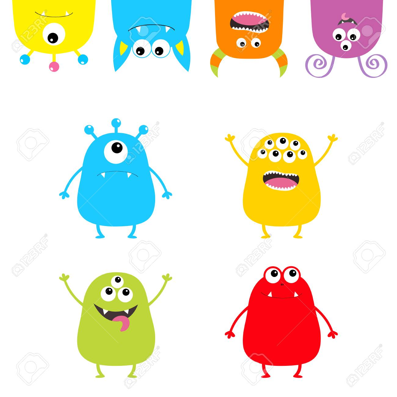 Colorful monster silhouette set. Hanging Upside down head face.