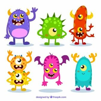 Colorful monster set.