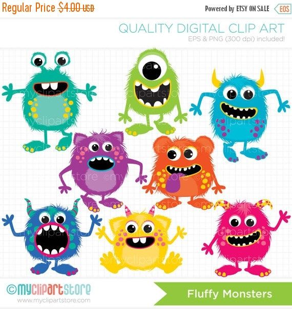 Fluffy Monsters Clipart, monster party, monster birthday.