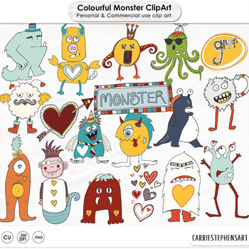 Cute Monster ClipArt, Colorful Rainbow.