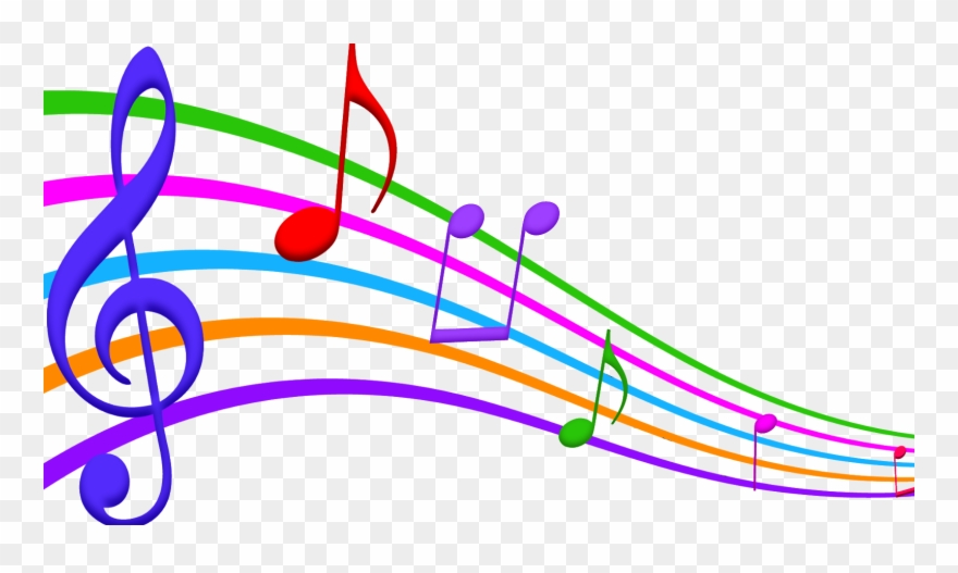 Musical Note Staff Color Clip Art.