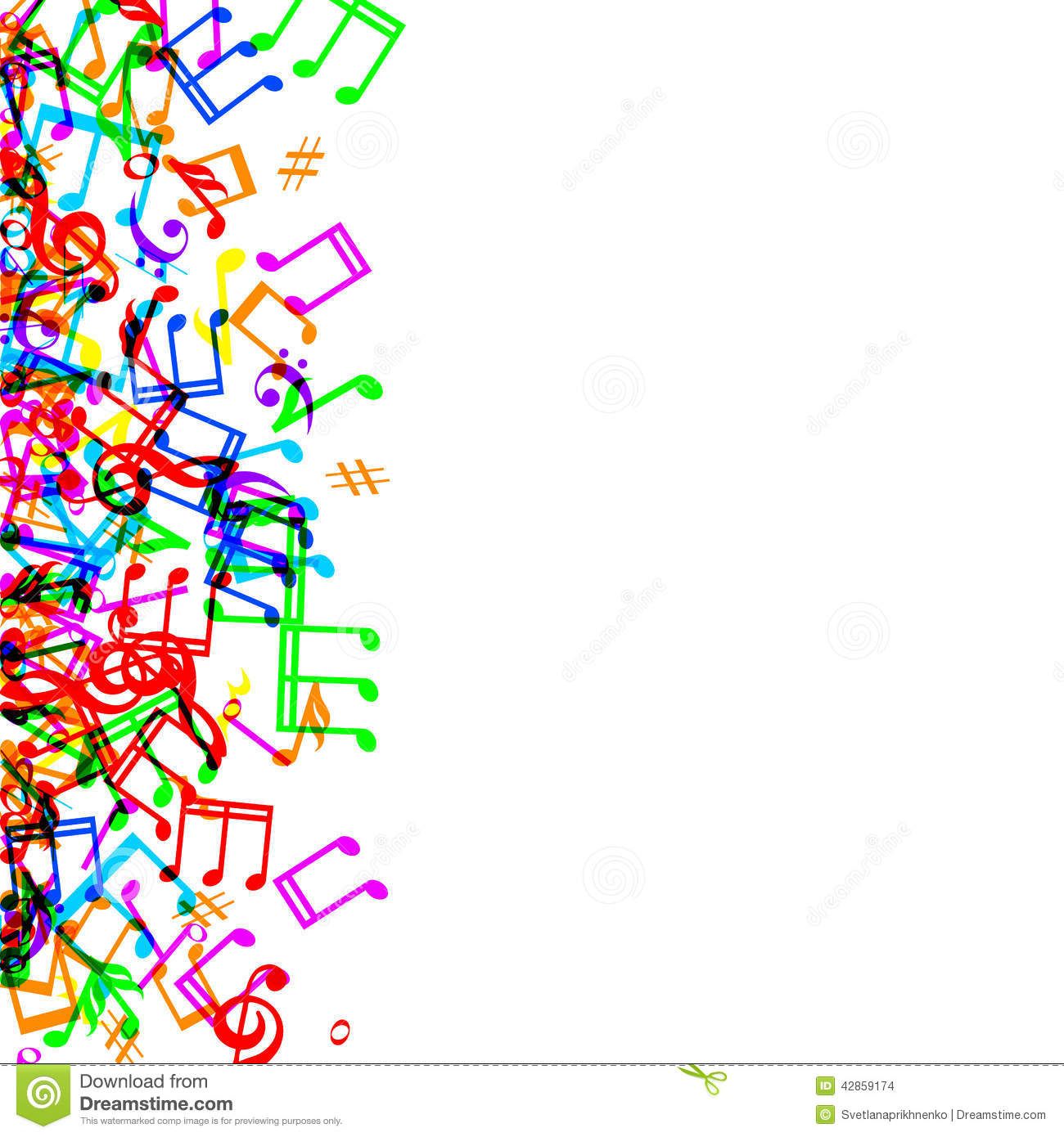 Colorful Music Note Border Clip Art.