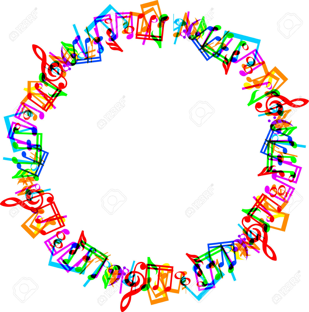 Colorful Music Notes Border Frame On White Background Royalty Free.