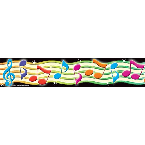 Colorful Music Note Border.