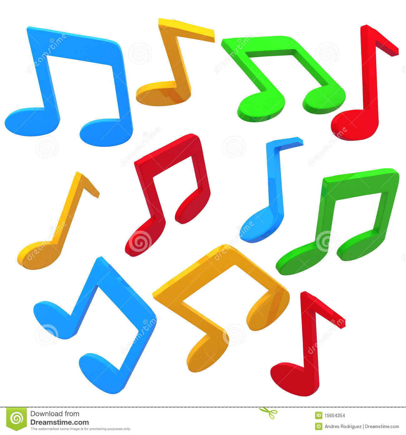 Music Notes Clipart Colorful.