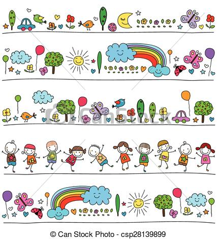 EPS Vectors of colorful pattern for children with cute nature.
