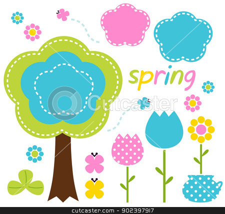 Spring colorful flowers and nature design elements stock vector.