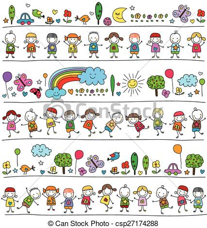 Vector of colorful pattern with children and cute nature elements.
